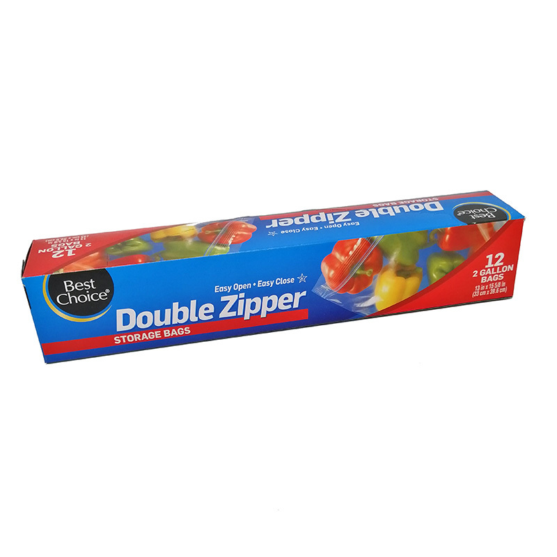 PE color zipper resealable 2 gallon zipper bags