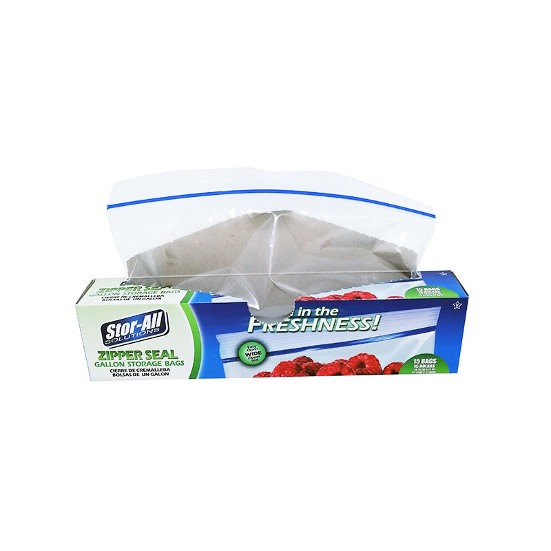 Plastic zipper food storage bag wide zipper 268x 279mm