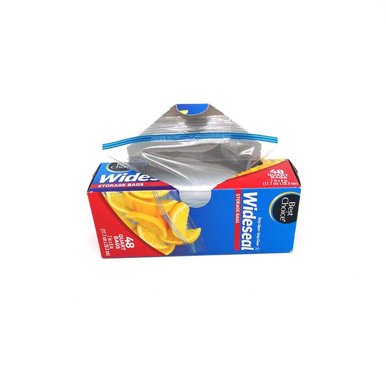 PE reclosable double zipper seal quart  storage bags