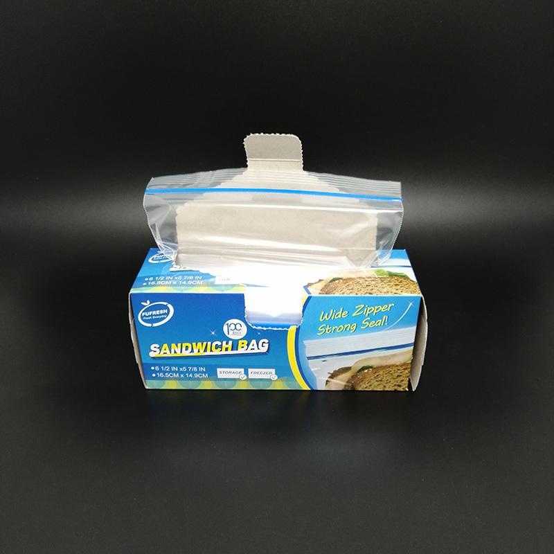 Plastic zipper seal ziplock sandwich bag