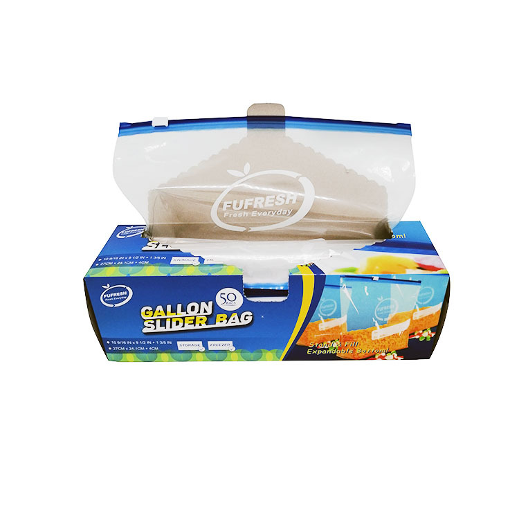 Plastic gallon slider zipper bags with bottom gusset