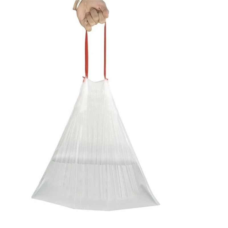 Plastic drawstring trash bag bin liner